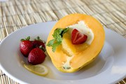 Orange Panacotta with Fresh Papaya